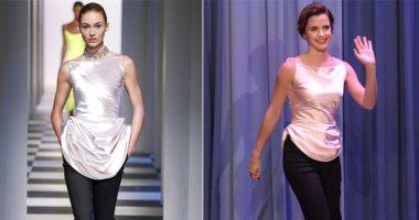 شاهد.. مقارنة إيما واتسون بعارضة أزياء بعد ظهورها ببرنامج Tonight Show