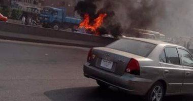 إصابة سائق بجروح أثناء إطفائه حريق سيارة فى القليوبية