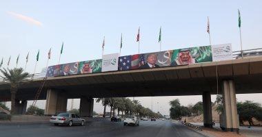 """بالصور.. السعودية تستعد لاستقبال """"ترامب"""" بوضع علم أمريكا فى شوارع البلاد"""