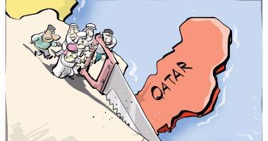 """شاهد.. كاريكاتير روسى: الدول العربية تقطع قطر بـ""""المنشار"""""""