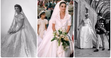 b4128bfdd4056 بالصور.. حكاية 7 فساتين زفاف دخلت التاريخ.. من الملكة رانيا لإيفانكا ترامب