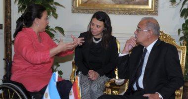 """شريف إسماعيل يبحث مع نائبة الرئيس الأرجنتينى اتفاقية التجارة مع """"الميركوسور"""""""