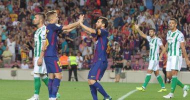 شاهد.. برشلونة يتقدم على بيتيس بثنائية فى 3 دقائق بالليجا -