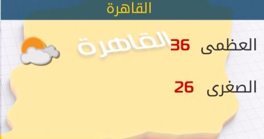 الأرصاد: طقس اليوم حار رطب.. والعظمى بالقاهرة 36 درجة -