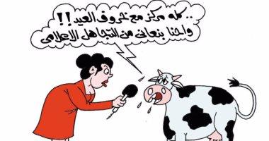 الأبقار تطالب بالمساواة بخروف العيد فى كاريكاتير ساخر لليوم السابع