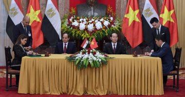 بالصور.. الرئيس السيسى يوقع مع نظيره الفيتنامى اتفاقيات تعاون ثنائى