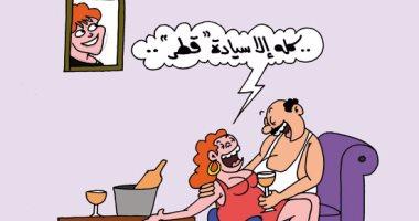 """دفاع """"الغانيات"""" عن السيادة القطرية.. فى كاريكاتير """"اليوم السابع"""""""