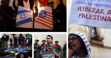 مواطنون بكولومبيا يستقبلون نتنياهو بعلم فلسطين وصور انتهاكات إسرائيل