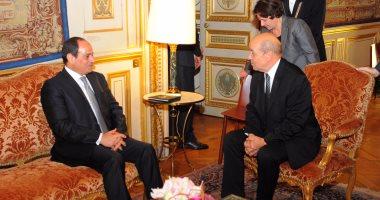 """بالصور.. """"لودريان""""  للسيسي: مصر أهم الشركاء الاستراتيجيين لفرنسا فى الشرق الأوسط"""