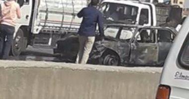 حريق سيارة ملاكى على الطريق الدائرى فى الطريق من السلام لقليوب
