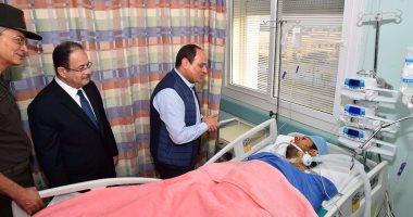 ننشر صور زيارة الرئيس السيسى للنقيب محمد الحايس بمستشفى الجلاء العسكرى