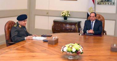 الرئيس السيسى يجتمع بوزير الدفاع
