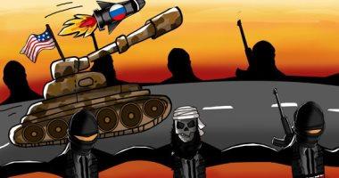 """""""حال الدنيا"""".. كاريكاتير يبرز دور الجماعات التكفيرية فى التدخل الأجنبى بالمنطقة العربية"""