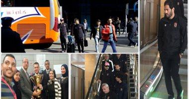 جماهير الأهلى تستقبل الفريق بمطار القاهرة بعد حصوله على السوبر