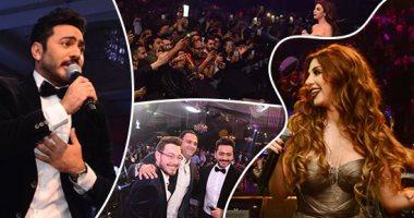 تامر حسنى وميريام فارس يتألقان فى حفل غنائى بالقاهرة الجديدة