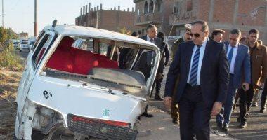 أسماء الــ 13 المصابين فى حادث تصادم بين 3 سيارات على طريق سوهاج نجع حمادى