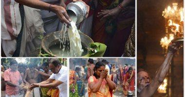 """مواطنو الهند وسريلانكا يهدون """"أرز باللبن"""" للطبيعة فى موسم الحصاد"""
