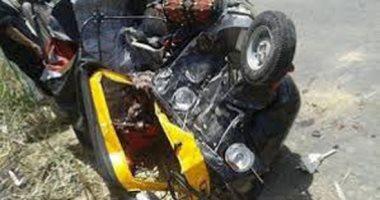 مصرع شخص وإصابة 3 فى تصادم سيارة وتوك توك أعلى دائرى بنى سويف