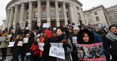 صور.. تظاهر نشطاء منظمات حقوق الحيوان ضد قانون السيرك فى أوكرانيا