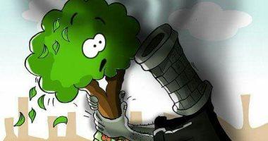 حال الدنيا.. اغتيال الأخضر بسبب العوادم والأدخنة فى كاريكاتير اليوم السابع