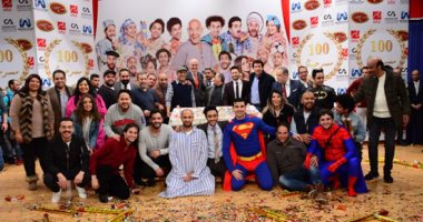 """صور.. أشرف عبد الباقى ونجوم الفن يحتفلون بـالعرض """"100"""" لمسرح مصر"""