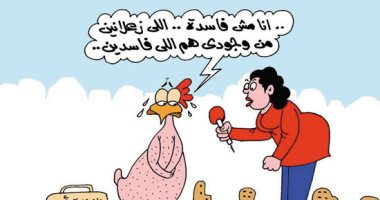 """""""الفرخة بـ15 جنيه واللى ما يشترى يتفرج"""".. بكاريكاتير اليوم السابع"""