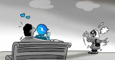 """حال الدنيا.. السوشيال ميديا و""""خراب البيوت"""" فى كاريكاتير اليوم السابع"""