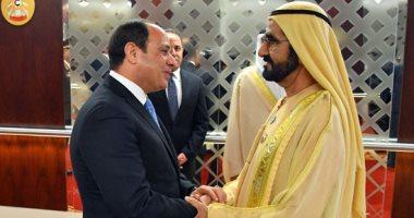 الرئيس السيسى يستقبل فى مقر إقامته ببكين الشيخ محمد بن راشد