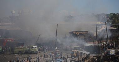 صور.. حريق هائل يلتهم أحد الأسواق التجارية فى هايتى