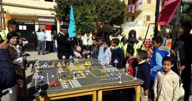 """صور.. مشروع """"مدينة مرورية متنقلة"""" لتلاميذ 4 مدارس فى الأقصر × 14 معلومة"""
