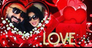 سمية الخشاب تحتفل بأول عيد حب بنشر صورتها مع زوجها الفنان أحمد سعد