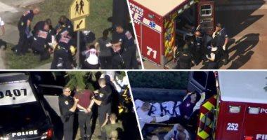 """صور.. """"احترس أمريكا غير أمنة"""".. حادث إطلاق نار جديد فى الولايات المتحدة.. مقتل 3 أشخاص وإصابة نحو 50 آخرين داخل بمدرسة بولاية فلوريدا.. الشرطة تعتقل مسلح بعد عمليات كر وفر.. وترامب يصف الحادث بـ""""الرهيب"""""""