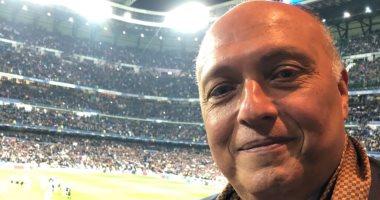 """صور.. وزير خارجية مصر فى ملعب """"سنتياجو"""" لمشاهدة ريال مدريد وباريس سان جيرمان"""