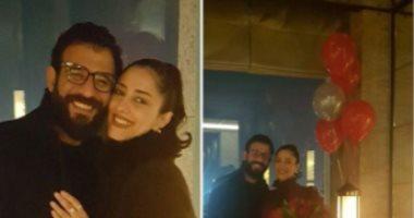 شاهد كيف احتفل زوج الفنانة حنان مطاوع بعيد ميلادها