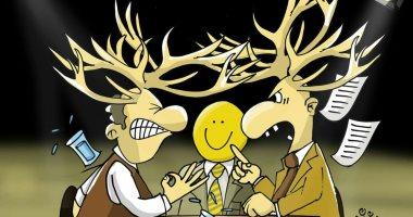 """حال الدنيا ..الحوار غير المتحضر فى بعض برامج التوك شو بكاريكاتير """" اليوم السابع"""""""