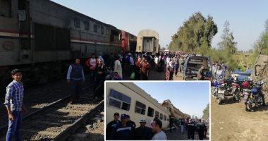 إصابة شخص فى اصطدام قطار ركاب بجرار زراعى اقتحم شريط السكة الحديد بالمنصورة