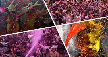 موف.. أحمر.. أزرق.. بهجة وفرحة مع انطلاق مهرجان الألوان فى الهند