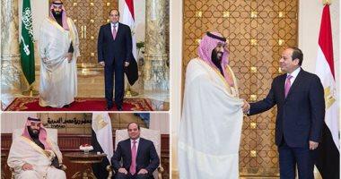 الرئيس السيسي يستقبل صاحب السمو الملكى الأمير محمد بن سلمان بمطار القاهرة