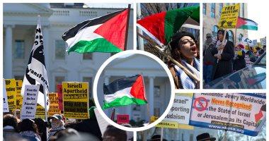تظاهرات أمام البيت الأبيض للمطالبة بدولة فلسطينية مستقلة