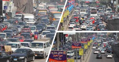 زحام مرورى بشوارع القاهرة والجيزة