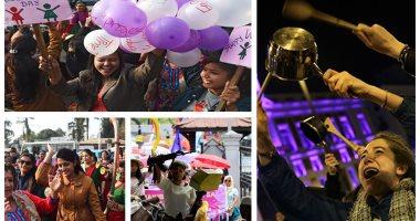 العالم يحتفل باليوم العالمى للمرأة بمظاهرات ضد العنف