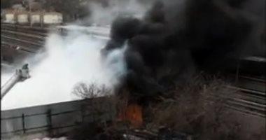 صور.. حريق ضخم فى مصنع لإعادة تدوير المخلفات بنيويورك