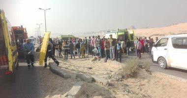 إصابة 12 عاملا فى تصادم 4 سيارات على الطريق الدائرى الإقليمى