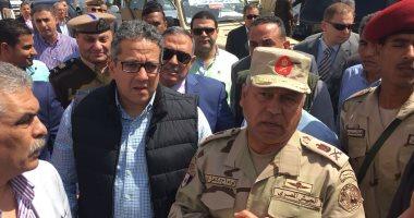 وزير الآثار وكامل الوزير ومحافظ الأقصر يتفقدون أعمال إحياء طريق الكباش