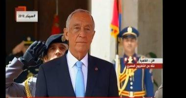 اللإمام الأكبر أحمد الطيب والرئيس البرتغالى يصلان الجامع الأزهر الشريف