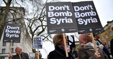مظاهرات بلندن احتجاجا على نية حكومة بريطانيا المشاركة فى قصف سوريا