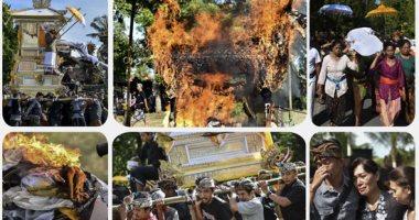 انطلاق مراسم حرق جثث الموتى فى جزيرة بالى الإندونيسية
