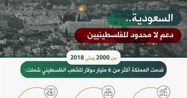 """سفارة السعودية تنشر """"إنفوجراف"""" لدعم المملكة للفلسطينيين بـ6 مليارات دولار"""