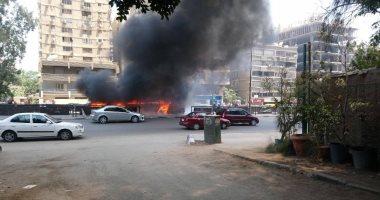 السيطرة على حريق أتوبيس بشارع مصطفى النحاس فى مدينة نصر