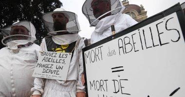 صور..نشطاء يقيمون جنازة رمزية للنحل احتجاجا على استخدام المبيدات فى باريس